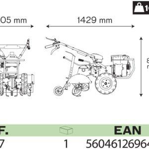 VITO Pro Benzin Einachser mit Bereifung und Fräse 7 PS EURO5 620mm Arbeitsbreite - Bodenfräse