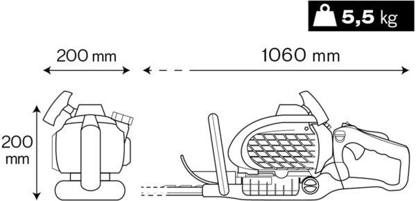 VITO Garden - Benzin-Heckenschere VICS25, Heckenschneider mit 55 cm Klingenlänge, 20 mm Messeröffnung