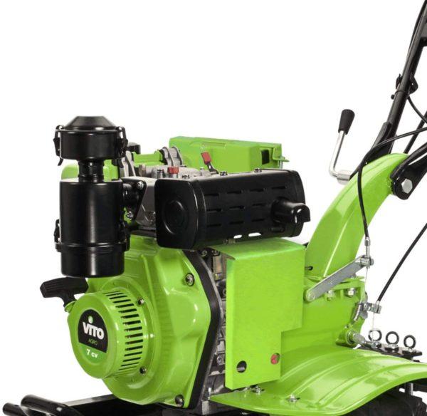 VITO 7PS Diesel E-Starter Motorhacke Direktantrieb - Pflug + Bodenfräse 115cm Arbeitsbreite