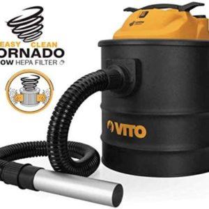 Easy Clean 1400W VITO 18L Aschesauger bis 50°, HEPA Filter mit Filterreinigungsfunktion - 1M Schlauch mit 200mm Aluminiumrohr, Kamin Staubsauger (2 Hepa-Filter)