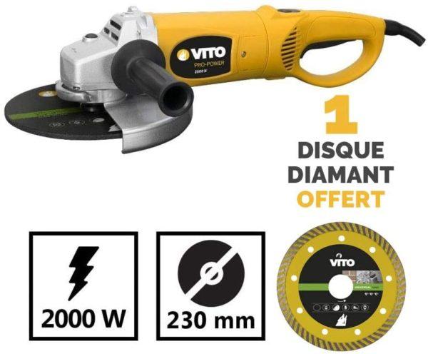 Winkelschleifer 2000 W Vito + Diamant-Trennscheibe 230- Kopf Stahl – 6200rpm