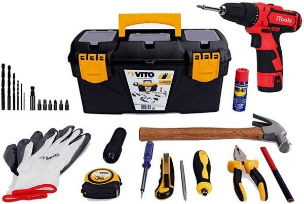 VITO Tools Starter Paket - Werkzeug Grundausstattung Universal und Haushalts-Werkzeugkoffer + Mini Akkuschrauber 12V