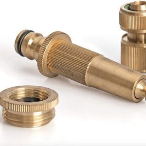 "Messing Stecksystem Set 3/4"", 5-teilig - Hahnanschlussstück, Adapter + Schlauchstück  + verstellbare Gartenspritze"