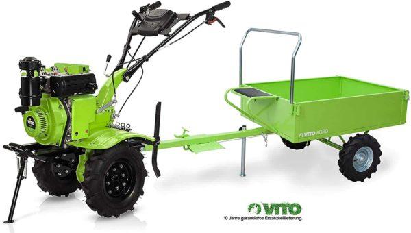 Einachser mit Anhänger - VITO Set Motorhacke + Anhänger 7PS Diesel E-Starter Direktantrieb - Pflug + Bodenfräse 115cm Arbeitsbreite