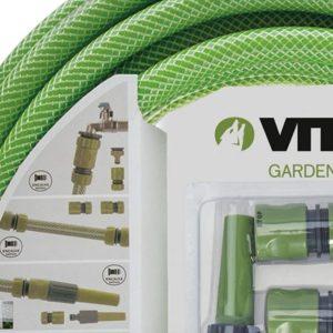 Gartenschlauch 3/4 zoll 25m - SET mit Gartenspritze, Schlauchverbinder und Hahnanschlussstück