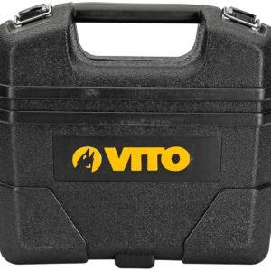 VITO Professional Akkubohrschrauber 14.4V mit LED-Licht und Kapazitätsanzeige | 2x Li-Ion 2Ah, Ladegerät | Akkuschrauber in ergonomischer Bauform, Drehmoment: 40 nM, 1,14 kg mit Koffer und Zubehör