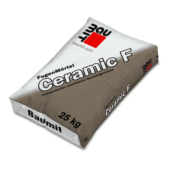 Baumit FugenMörtel Ceramic-F Hydrophobierter, elastifizierter Spezialfugenmörtel zum Verfugen von Bekleidungen (Klinkerriemchen u.a.) mit Fugeisen.