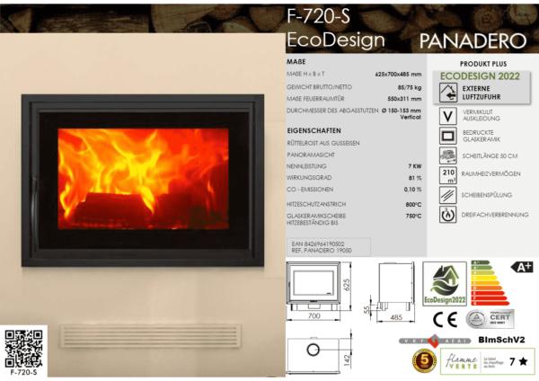 Kamineinsatz Heizeinsatz F-720-S  EcoDesign